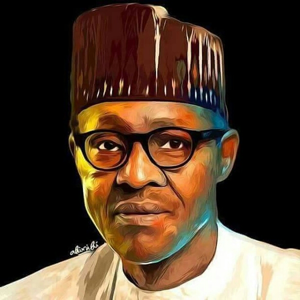 President Buhari : Whoever painted this photo made Buhari so beautiful!